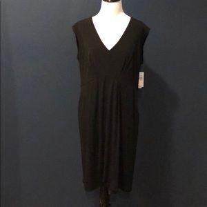 AB Studio Black Sleeveless Faux Wrap Dress